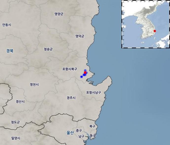 포항 지진이 발생한 뒤 인근에서 발생한 규모 3.0 이상 지진을 지도에 표시했다. 빨간 점이 포항 지진이 발생한 위치며 파란색 별이 2월 11일 발생한 규모 4.6 여진이다. - 기상청 제공